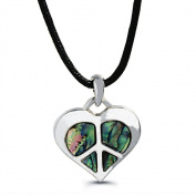 Liav's Heart Peace Sign Charm Pendant Fashionable Necklace / Abalone Paua Shell / 46cm Wild Style Chain / Unique Gift and Souvenir