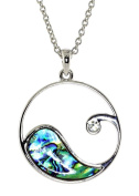 Liav's Ocean Wave Design Charm Pendant Fashionable Necklace / Abalone Paua Shell / Rhinestone Crystal / 46cm Link Style Chain / Unique Gift and Souvenir