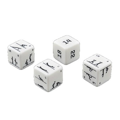 Set of 4 Carved Fitness Dice - Bodyweight Fitness Fun Office & Workplace Wellness