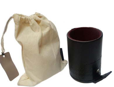 Dice Cup with 5 Poker Dice in Canvas Bag