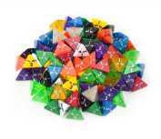 100+ Pack of Random D4 Polyhedral Dice in Multiple Colours By Wiz Dice