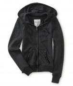 Aeropostale Womens Faux Leather Hooded Hoodie Sweatshirt 079 XS