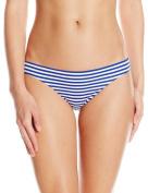 Zinke Women's Katie Ruched Back Bikini Bottom, Blue Stripe, Medium