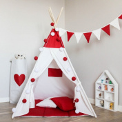 Free Love @new design red colour with flags kids play tent indian teepee children playhouse children play room teepee