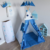 Free Love @new design blue colour with flags kids play tent indian teepee children playhouse children play room teepee