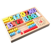 Icollect® Clock Wooden Wood Beads Abacus Counting Number Maths Educational Children Toy