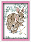 Happy Forever Cross Stitch, animals rabbits, take time to love