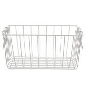 White Rectangular Wire Basket with Swing Handle - Medium