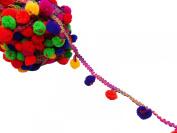 Multicolor Bobble Trim Cotton Pom Pom 5 Mm Decorative Fringe Trim By The Yard