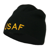 US Air Force Military Embroidered Short Beanie - Black OSFM