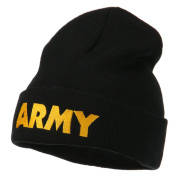 Army Embroidered Long Knitted Beanie - Black OSFM