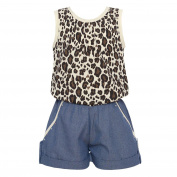 Little Girls Ivory Brown Leopard Spotted Top Denim Cuffed Shorts Jumper 6X