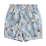 Richie House Little Girls Blue Home Sweet Home Quilt-Style Shorts 5/6