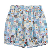 Richie House Little Girls Blue Home Sweet Home Quilt-Style Shorts 1/2