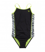 Justice Girl's One-Piece Colorblock Zebra Tank Swimsuit