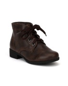 Little Angel Girls Jojo-212E Leatherette Round Toe Lace Up Military Bootie,Brown,12