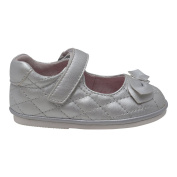 Angel Baby Girls Silver Quilted Velcro Strap Bow Mary Jane Shoes 3 Baby
