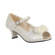 Girls Ivory Pearled Satin Flowers Nancy Occasion Dress Shoes 9 Toddler