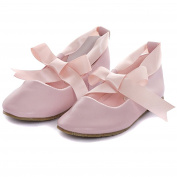 Kids Dream Baby Girl 5 Pink Ballerina Ribbon Tie Rubber Sole Shoes