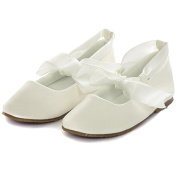 Kids Dream Baby Girl 9 Ivory Ballerina Ribbon Tie Rubber Sole Shoes