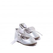 Kids Dream Silver Ballerina Ribbon Tie Rubber Shoe Baby Girl 3 Toddler