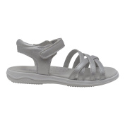 Angel Girls Silver Criss Cross Strap Velcro Closure Leather Sandals 6 Toddler