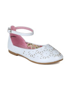 Little Angel Girls Lola-731E Leatherette Perforated Ankle Strap Ballet Flat Sandal,White,9
