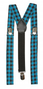 Giant Chequered 3 Clip Stretchable Suspenders- Blue