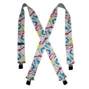 CTM® Mens Big and Tall Elastic 5.1cm Wide Clip-End Plumber Work Suspenders, Grey