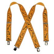 CTM Mens Big and Tall Elastic 5.1cm Wide Clip-End Tape Measure Suspenders