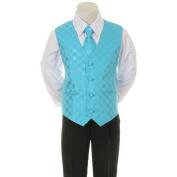 Kids Dream Aqua Chequered Vest Necktie Special Occasion Boys Suit 1