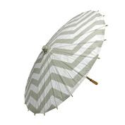 80cm Grey Chevron Paper Parasol Umbrella