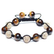 Bling Jewellery Shamballa Inspired Bracelet Simulated Tiger Eye Beads Crystal Balls 12mm Alloy