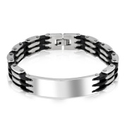 Bling Jewellery Mens Stainless Steel Bicycle Chain ID Bracelet 22cm