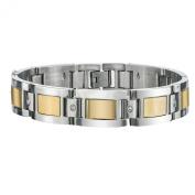 Men's Diamond Bracelet in Yellow Plating Stainless Steel 22cm