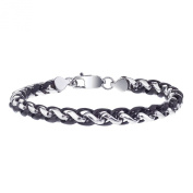 Men's Two Tone Stainless Steel Wheat Chain Bracelet