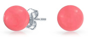 Bling Jewellery 925 Sterling Silver Round Dyed Pink Coral Stud Earrings 6mm