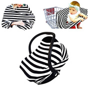 Stretchy 3-in-1 Baby Car Seat Canopy Shade, Shopping Cart Cover, Nursing Cover Black and White Stripes by Luvit