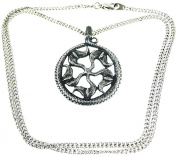 Solid Pewter Norse Sunwheel Pendant / Necklace Viking