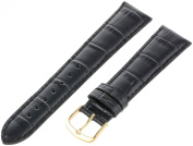 Hadley Roma Black 20 mm Wide Genuine Italian Calfskin Leather Strap