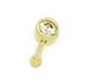 14k Yellow Gold CZ Round Body Piercing Jewellery Nose Stud