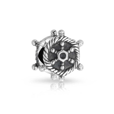 Bling Jewellery 925 Sterling Silver Nautical Rope Ship Wheel Bead.
