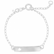 Silver Plated Star Identification Tag ID Girl Baby Bracelet Kids 11cm Adjustable