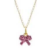 Crystaluxe Girl's Bow Pendant with Rose. Crystals in 14K Gold