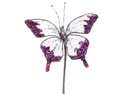 18cm Princess Garden Glittering Violet Butterfly Beaded Floral Craft Pick