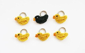 Lantern Moon Handcrafted Yellow Ducks with One Black Duck Knitting Stitch Markers