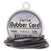Beadsmith Black Solid Rubber Cord For Jewellery & Crafts 3mm / 2.7m Spool