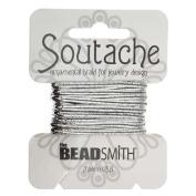 BeadSmith Soutache Braided Cord 3mm Wide - Shiny Metallic Silver