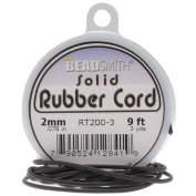 Beadsmith Black Solid Rubber Cord For Jewellery & Crafts 2mm / 2.7m Spool