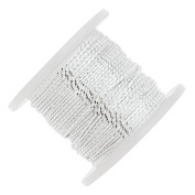 Beadalon Tassel Cord, Cotton Strands 0.76mm Thick, 20 Metres, Metallic Silver on White